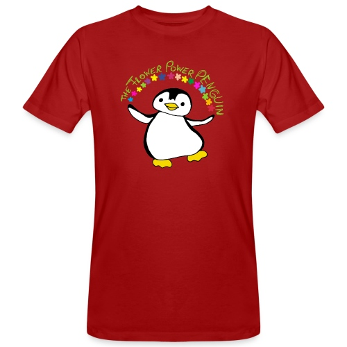 Pinguin Flower Power - Männer Bio-T-Shirt