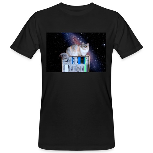 Cat on synthesizer in space EuroPaw - Mannen Bio-T-shirt