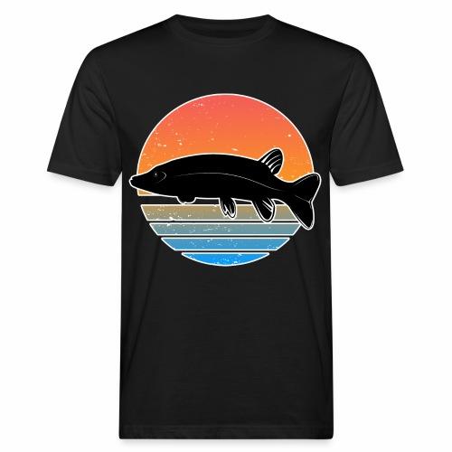 Retro Hecht Angeln Fisch Wurm Raubfisch Shirt - Männer Bio-T-Shirt