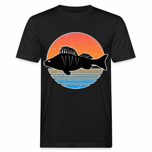 Retro Barsch Angeln Fisch Wurm Raubfisch Shirt - Männer Bio-T-Shirt