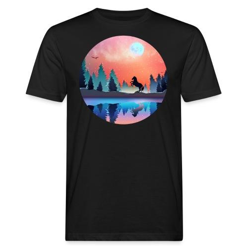 Waldsee Pferd - Männer Bio-T-Shirt