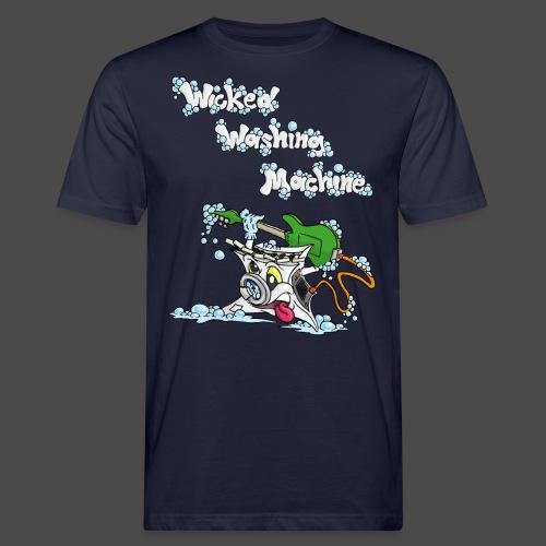Wicked Washing Machine Cartoon and Logo - Mannen Bio-T-shirt