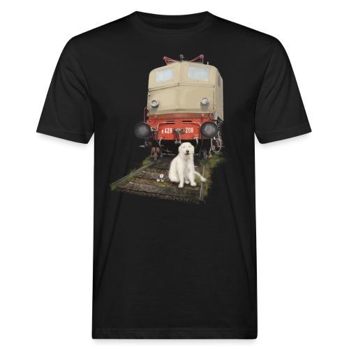 Golden Retriever with Train - T-shirt ecologica da uomo