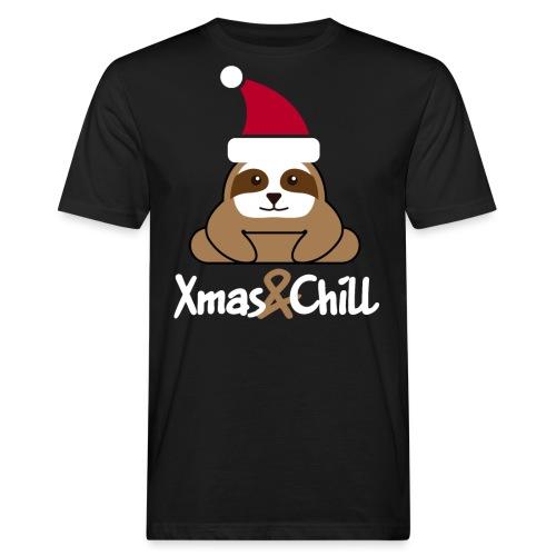 Faultier Weihnachten süß lustig Geschenk - Männer Bio-T-Shirt