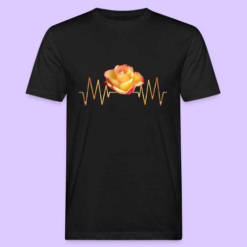 Rose, Herzschlag, Rosen, Blume, Herz, Frequenz - Männer Bio-T-Shirt