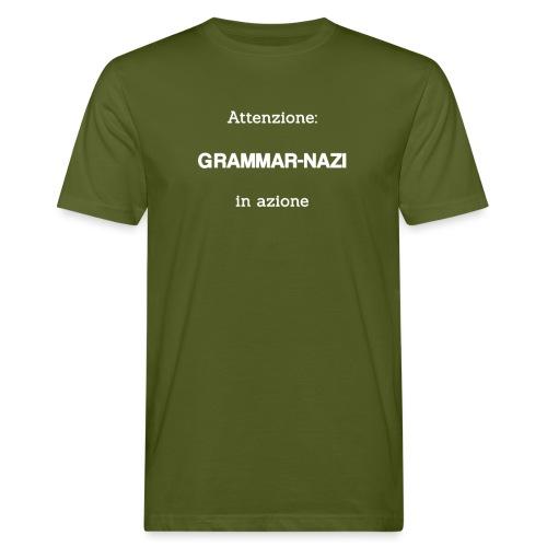 Attenzione: Grammar-nazi in azione - bianco - T-shirt ecologica da uomo