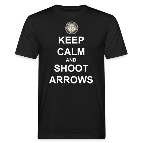 Keep Calm and Shoot Arrows - Vit text - Ekologisk T-shirt herr
