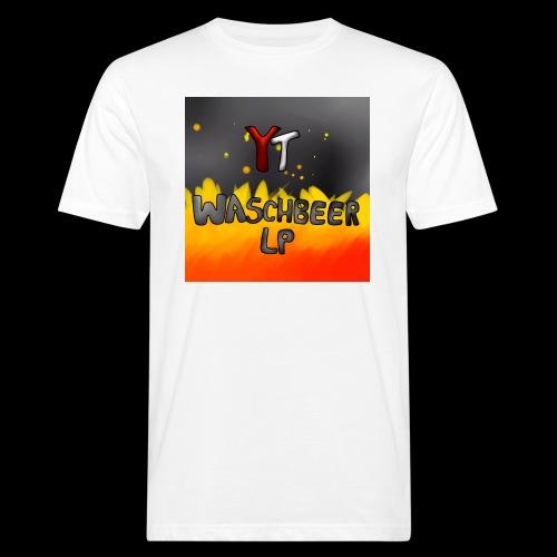 Waschbeer Design 2# Mit Flammen - Männer Bio-T-Shirt