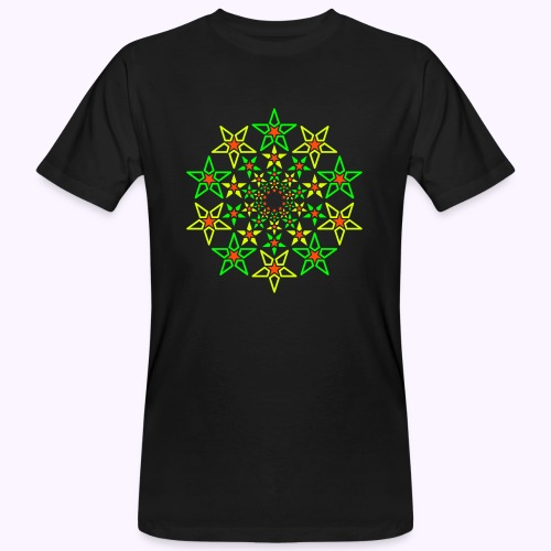 Fractal Star 3 color neón - Camiseta ecológica hombre