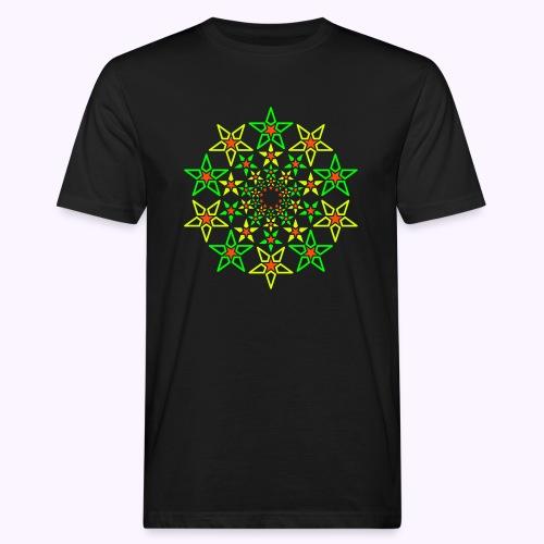 Fractal Star 3 -värinen neon - Miesten luonnonmukainen t-paita