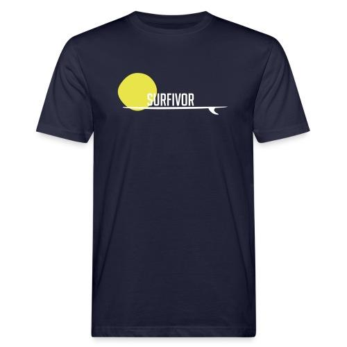 Surfivor surf logo met zon - Mannen Bio-T-shirt