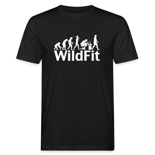WildFit Logo Evolution Weiß - Männer Bio-T-Shirt