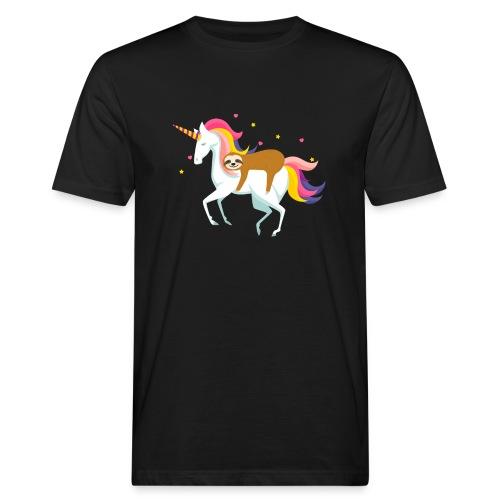 Funny Sloth Riding Unicorn - Männer Bio-T-Shirt