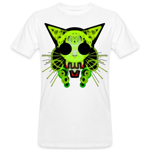 cat skeleton skull light green in deep black - Men's Organic T-Shirt