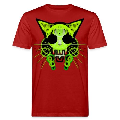 cat skeleton skull light green in deep black - Men's Organic T-Shirt