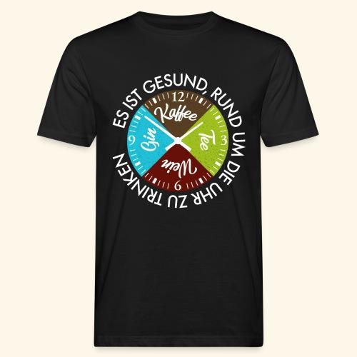 Kaffee Tee Wein Gin Rund um die Uhr ist Gesund - Männer Bio-T-Shirt