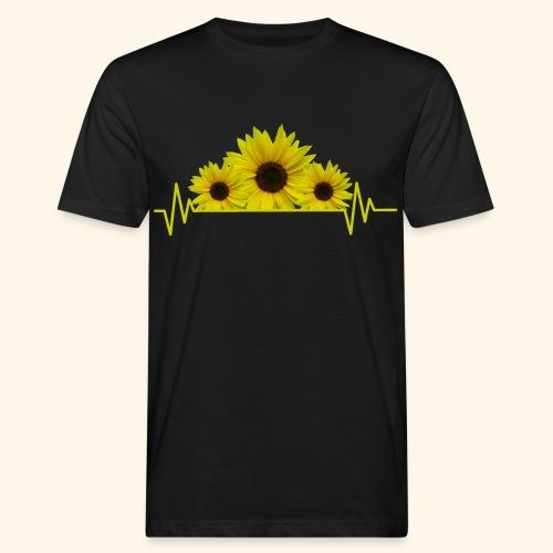 Sonnenblumen Herzschlag Sonnenblume Blumen Blüten - Männer Bio-T-Shirt