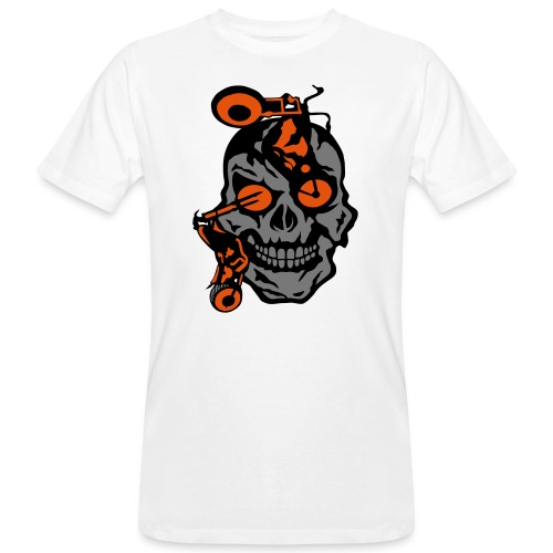 tete mort moto motrocycle oeil skull - T-shirt bio Homme