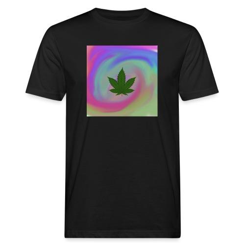 Hanfblatt auf bunten Hintergrund - Männer Bio-T-Shirt