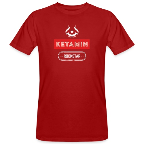 KETAMIN Rock Star - Weiß/Rot - Modern - Men's Organic T-Shirt