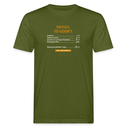 Preistafel für Auskünfte - Männer Bio-T-Shirt