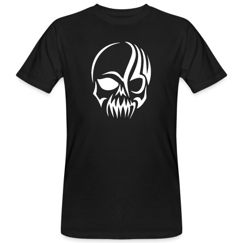 Tribal Skull white mit Logo - Männer Bio-T-Shirt
