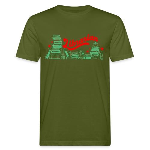 0322 Stack of books Librarian bookshelf - Men's Organic T-Shirt