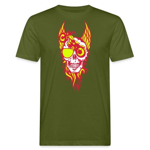 tete mort moto skull aile flamme fire - T-shirt bio Homme