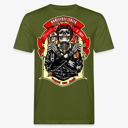 Teschio con casco, birra e chiave inglese - T-shirt ecologica da uomo