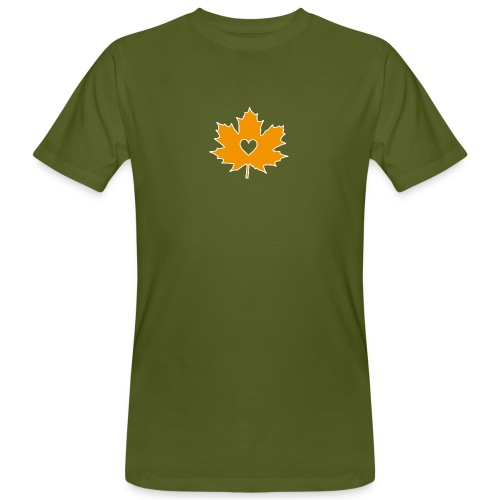 Oranges Ahornblatt mit Herz - Männer Bio-T-Shirt