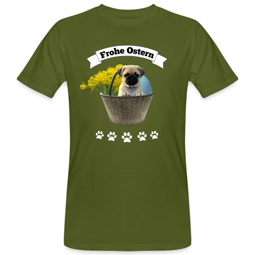 Frohe Ostern | Mops im Korb - Männer Bio-T-Shirt
