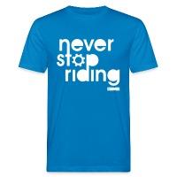 Never Stop Riding - Men's Organic T-Shirt peacock-blue