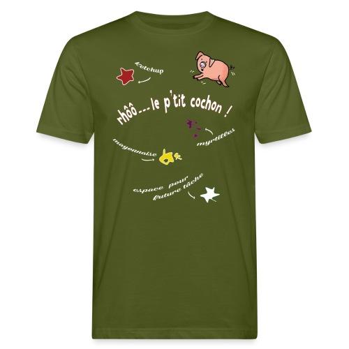 Rhoo le ptit cochon ! (version pour fond sombre) - T-shirt bio Homme