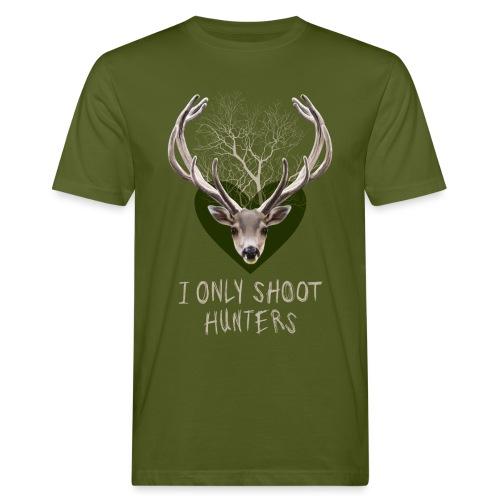 HERT met gewei groen hart - Men's Organic T-Shirt