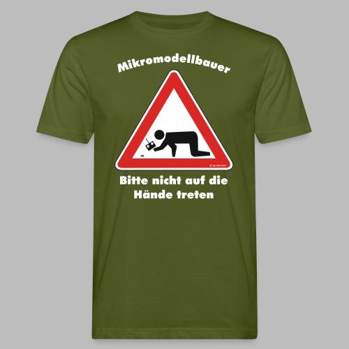 Mikromodell Warnschild Hände - weisse Schrift - Männer Bio-T-Shirt