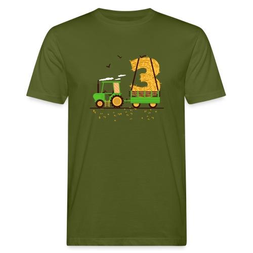 Traktor mit Anhänger 3. Geburtstag Geschenk Drei - Männer Bio-T-Shirt