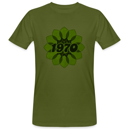 1970 retro flower - Männer Bio-T-Shirt