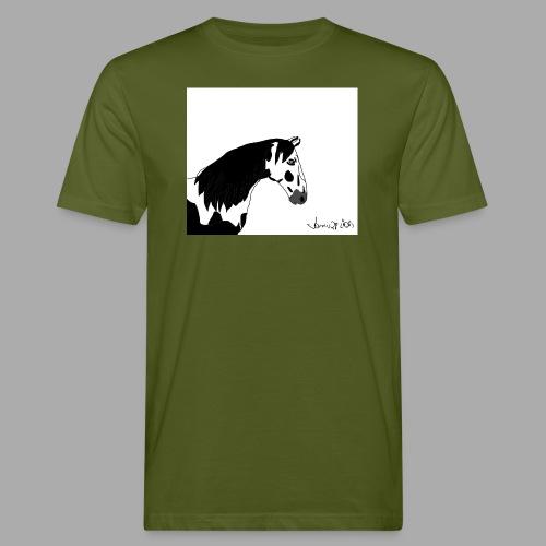 Pferdekopf mit Unterschrift - Männer Bio-T-Shirt