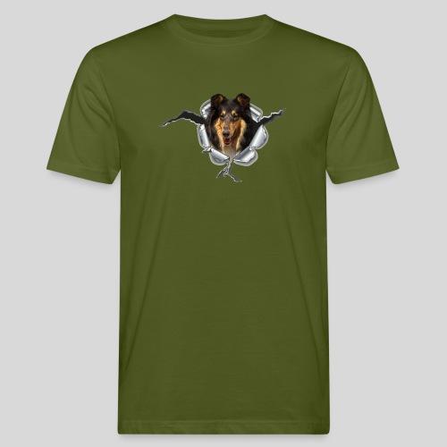 Collie (2) im Metall-Loch - Männer Bio-T-Shirt