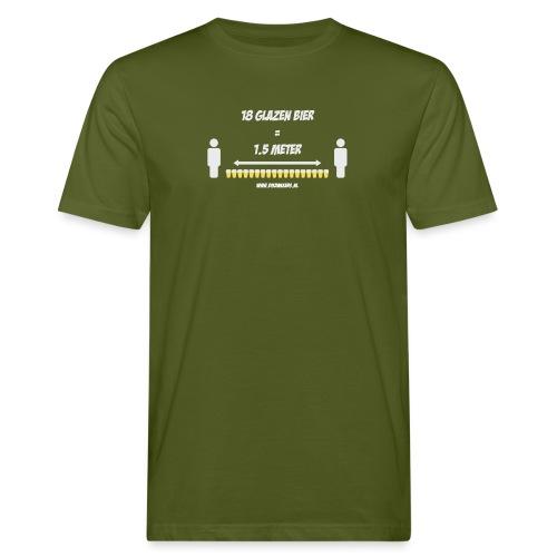 18 Glazen bier = 1,5 meter - Mannen Bio-T-shirt