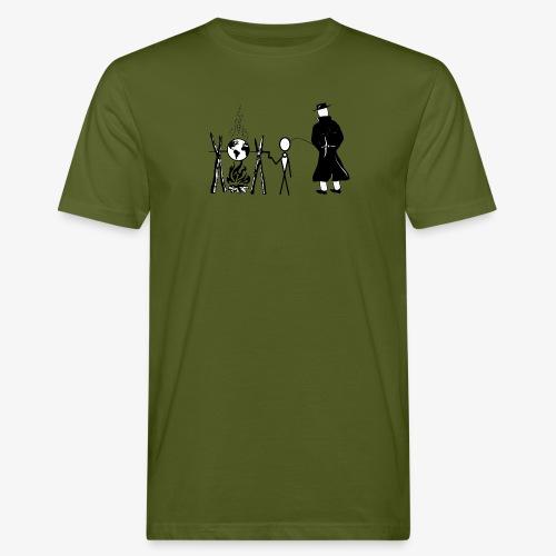 Pissing Man against human self-destruction - Männer Bio-T-Shirt