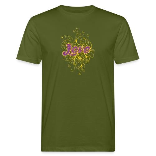 LOVE VIOLA CON DECORI - T-shirt ecologica da uomo