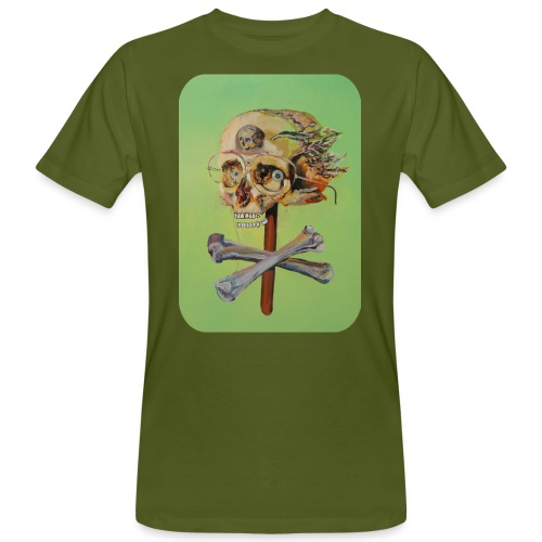 oil painting of skull and bones - Mannen Bio-T-shirt