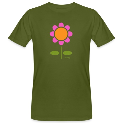 Retro flower - Miesten luonnonmukainen t-paita