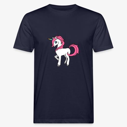 Süsses Einhorn mit rosa Mähne und Regenbogenhorn - Männer Bio-T-Shirt