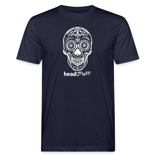Skull & Logo white - Männer Bio-T-Shirt