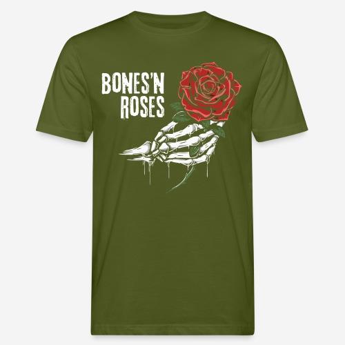 Schädelknochen Rosen - Männer Bio-T-Shirt