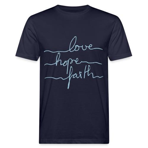 LoveHopeFaith Typo - Männer Bio-T-Shirt