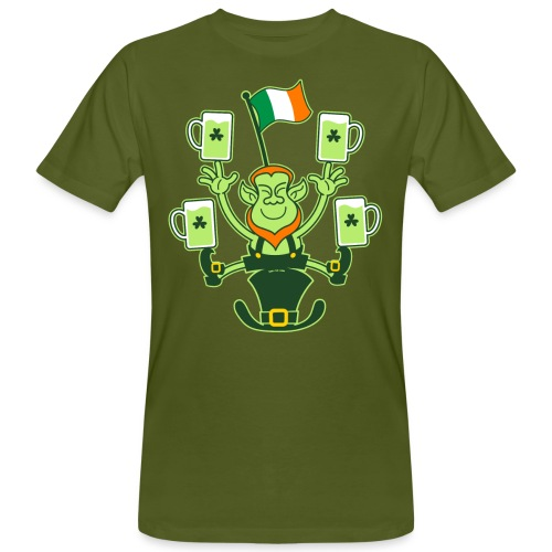Leprechaun Juggling Beers and Irish Flag - Men's Organic T-Shirt