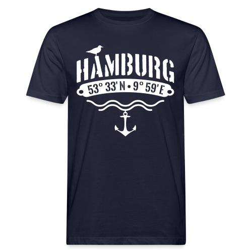 Hamburg Koordinaten Anker Möwe Längengrad - Männer Bio-T-Shirt